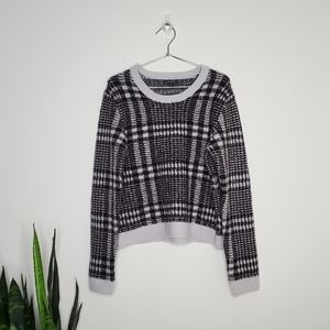 Dynamite Grey & White Plaid Sweater